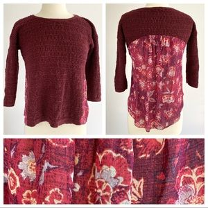 Lucky Brand Mixed Media Boho Sweater XS